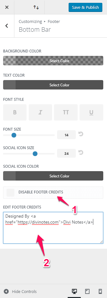 Edit Divi Footer Credits in the Customizer